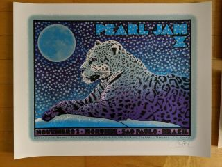 Signed Chuck Sperry Pearl Jam Sao Paolo Brazil 2011 Poster Agape Tethys Dryad