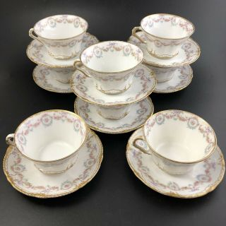 Theodore Haviland Limoges Double Gold Set Of 8 Teacups & Saucers Sch 330