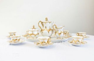 Antique Meissen Porcelain Coffee/tea Set,  White With Gold Leaf Accents,  Ca 1880