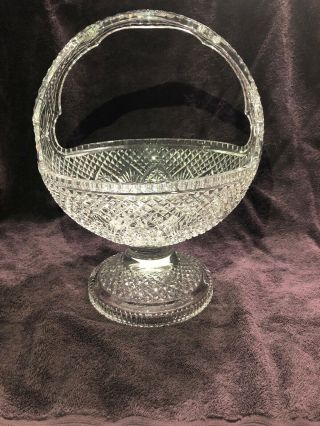 "Rare Large Waterford 14.  5 "" H Master Cutter Glass Crystal Basket Limited Edition"