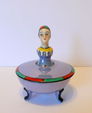 Art Deco Noritake Nippon Figural Clown Half Doll Porcelain Pincushion Footed Box