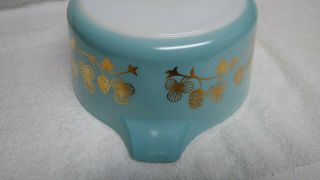Rare Blue with gold clovers Pyrex casserole bowl number 475 B 2 1/2 quart 10