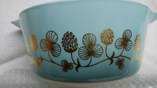 Rare Blue with gold clovers Pyrex casserole bowl number 475 B 2 1/2 quart 11