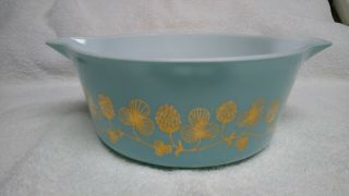 Rare Blue with gold clovers Pyrex casserole bowl number 475 B 2 1/2 quart 2