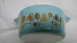 Rare Blue with gold clovers Pyrex casserole bowl number 475 B 2 1/2 quart 3