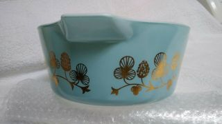 Rare Blue with gold clovers Pyrex casserole bowl number 475 B 2 1/2 quart 7
