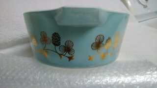 Rare Blue with gold clovers Pyrex casserole bowl number 475 B 2 1/2 quart 8