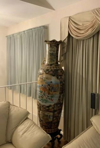 "Huge Vase 60"" Tall Chinese Porcelain Floor Vase With Stand"
