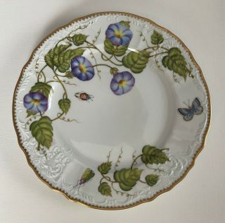 "Anna Weatherly Fine China Morning Glory Set Of 4 Dinner Plates 10.  5 "" Hand Painted"