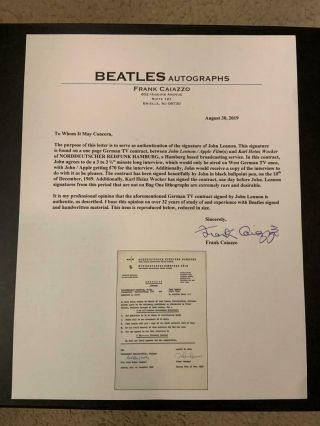Beatles INCREDIBLE 1969 JOHN LENNON SIGNED CONTRACT CAIAZZO & TRACKS COAs 3