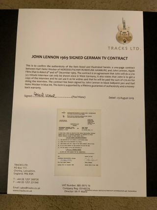 Beatles INCREDIBLE 1969 JOHN LENNON SIGNED CONTRACT CAIAZZO & TRACKS COAs 4