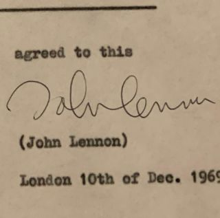 Beatles INCREDIBLE 1969 JOHN LENNON SIGNED CONTRACT CAIAZZO & TRACKS COAs 5