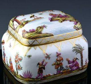 Rare & Large Meissen Chinoiserie Chinese Landscape Dresser Jar Jewelry Casket