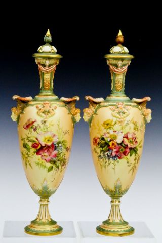 Royal Worcester Vase Pair With Tops - Hand Painted