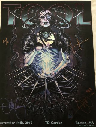 Tool Tour Concert Signed Poster Boston Td Garden 2019 Limited Edition 70/650