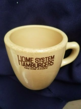 "5¢ Hamburgers Coffee Cup,  Mug "" Home System Hamburgers Take Home A Dozen "" Mcnikol"