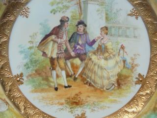 Very Fine Antique Dresden Porcelain HP Plate Courting Scene Gold Encrusted 9 7/8 3