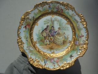 Very Fine Antique Dresden Porcelain HP Plate Courting Scene Gold Encrusted 9 7/8 4
