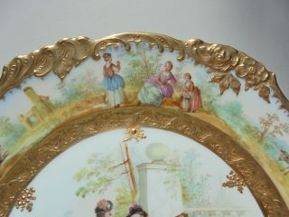 Very Fine Antique Dresden Porcelain HP Plate Courting Scene Gold Encrusted 9 7/8 5