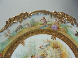 Very Fine Antique Dresden Porcelain HP Plate Courting Scene Gold Encrusted 9 7/8 6