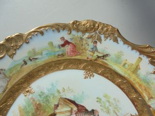 Very Fine Antique Dresden Porcelain HP Plate Courting Scene Gold Encrusted 9 7/8 7