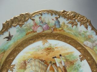 Very Fine Antique Dresden Porcelain HP Plate Courting Scene Gold Encrusted 9 7/8 8