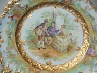 Very Fine Antique Dresden Porcelain HP Plate Courting Scene Gold Encrusted 9 7/8 9