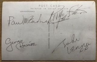 Beatles Autographs - John Lennon,  Paul Mccartney,  George Harrison,  Ringo Starr