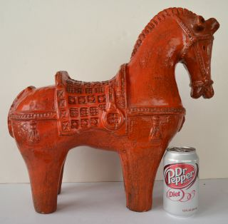 Italian Pottery Bitossi Large Orange 16  Horse Figurine 4