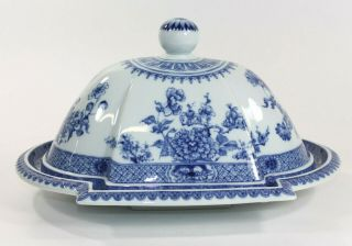 Mottahedeh Blue & White Chinese Canton Pattern Ceramic Serving Platter & Cover