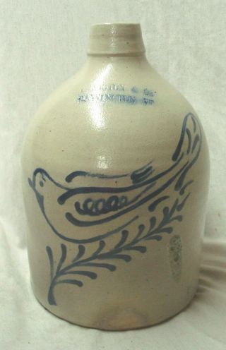 Antique Norton Bennington Vt.  Stoneware Jug,  Cobalt Blue Bird,  Dove,  1 Gallon.  Nr