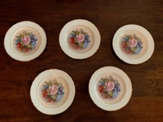 Aynsley Signed J.  A Bailey China Salad Plates Cabbage Rose - 5 Plates