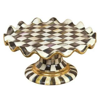 Mackenzie Childs Courtly Check Ceramic Fluted Cake Stand -