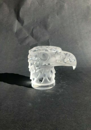 Lalique Crystal Eagle Head Paperweight Signed Bottom - No Cracks Or Scrapes