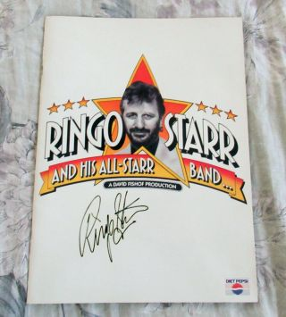 Beatles Stunning Ringo Starr Signed 1989 U.  S.  Tour Program Full Name