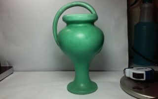 Exceptional Vintage,  Old Arts And Crafts Matte Green Pottery Vase,  Bout 8.  5 X 4.  3