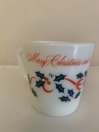 Vintage Pyrex Glass Merry Christmas Happy Year Coffee Mug