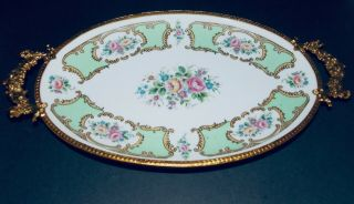 Limoges Paris Porcelain Hand Painted Dish With Ormolu Frame