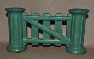 Vintage Roseville Pottery Matte Green Arts & Crafts Gate Double Bud Vase