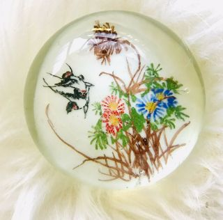 Vintage Chinese Art Glass Hand Paired Paperweight Flowers Birds