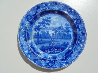 Stevenson & Williams Historical Staffordshire Dk Blue Harvard College Plate 8.  75