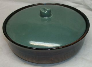 """Vintage Red Wing """" Village Green """" Covered Casserole Dish - Brown & Village Green"""