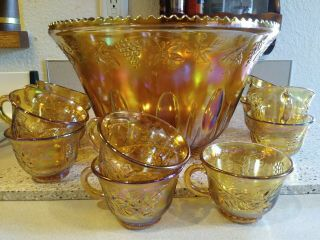 Vintage Amber Carnival Glass Punch Bowl And 11 Cups