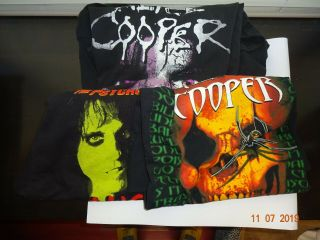 Three Black T Shirt Music Alice Cooper Psycho Drama Tour Skull Eyes Bare Bones