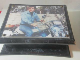 Vintage Elvis Motorcycle Large Black Jewelry Box Trinkets Estate Find