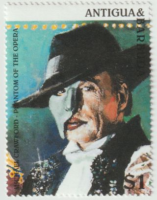 Vintage Phantom Opera Michael Crawford Antigua Barbuda Postage Stamp