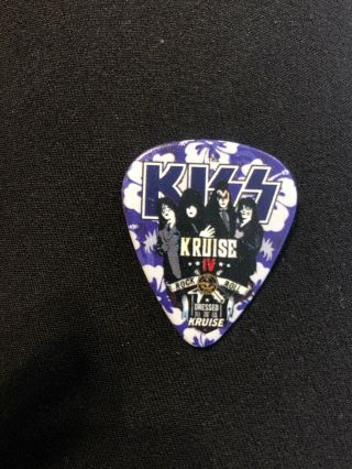 Kiss Kruise Iv 4 Guitar Pick Tommy Thayer Autographed 2014 Blue Floral Signed