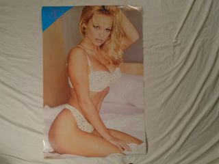 Pamela Anderson Poster Sexy White Underwear On Bed Pinup