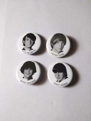 Very Rare Set Of 4 Monkees 100 Pins Dated 1966