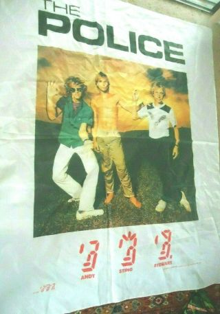"""Vtg The Police 1982 Large 44 """" X 45 """" Silk Screen Flag/banner/wall Hanging Sting"""